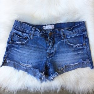 Free People Distressed Denim Mini Shorts Denim FP